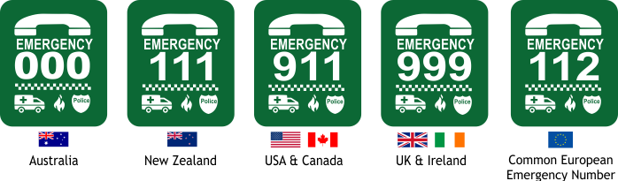 Emergency numbers vary around the world