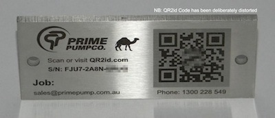 QR Codes on stainless steel plates with logo