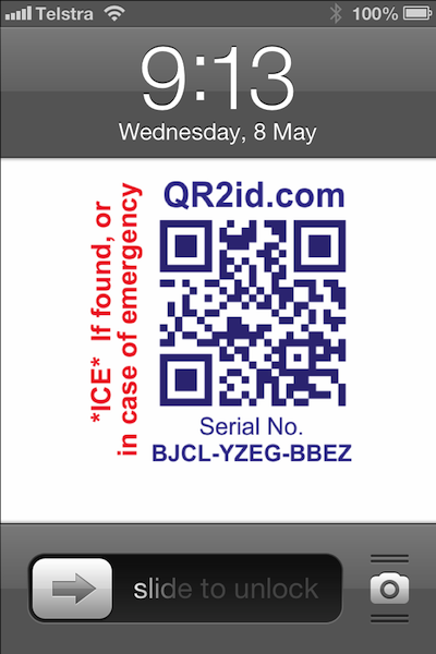 QR2id Lock Screen