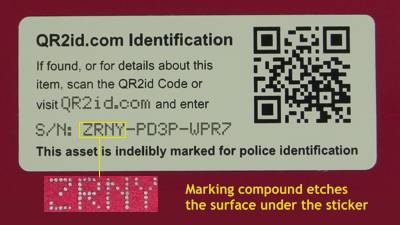 QR2id Sticker/Stencil Property Marking