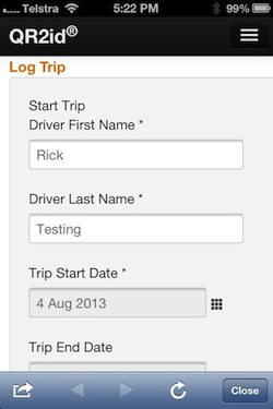 Driver Name automatically entered